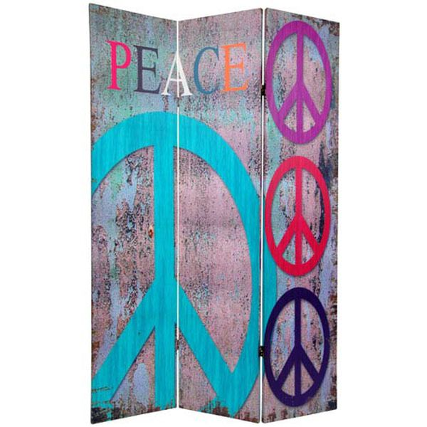 Six Ft. Tall Double Sided Multi - Color Peace and Love Room Divider, Width - 48 Inches, image 2