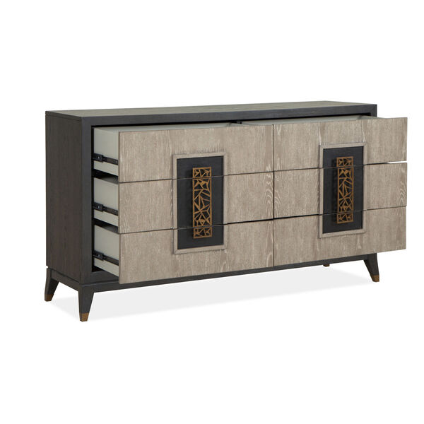 Ryker Nocturn Black and Coventry Gray Double Drawer Dresser, image 2