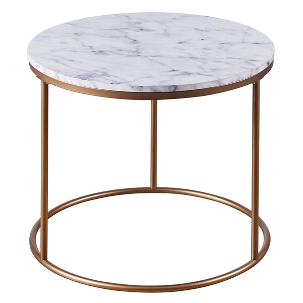 Marmo Faux Marble and Brass Round Side Table with Faux Marble, image 6