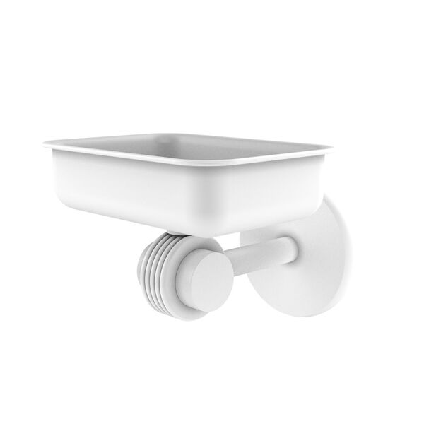 Satellite Orbit Two Matte White Four-Inch Wall Mounted Soap Dish with Groovy Accents, image 1