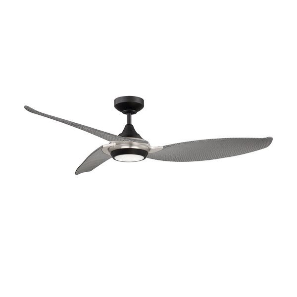 Virtua Black and Satin Nickel LED Ceiling Fan with WaterGraphiX Blades, image 1