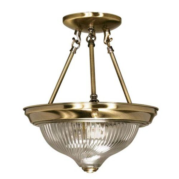 Antique Brass Two-Light Semi Flush Mount with Clear Swirl Glass, image 1