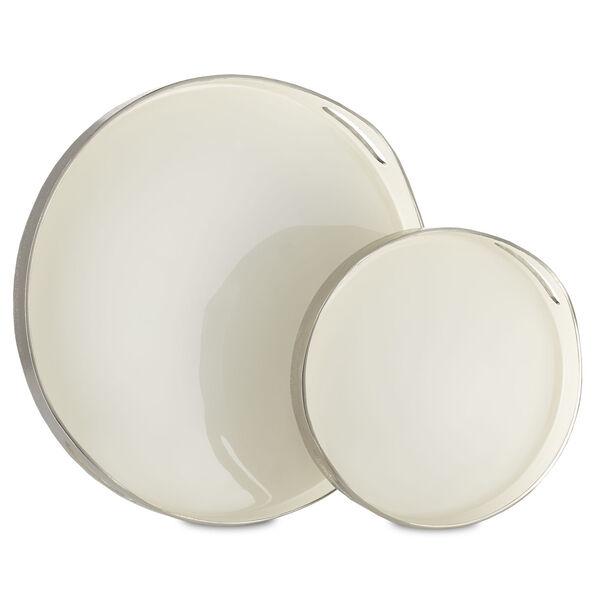 Riya White and Silver Tray, Set of 2, image 2
