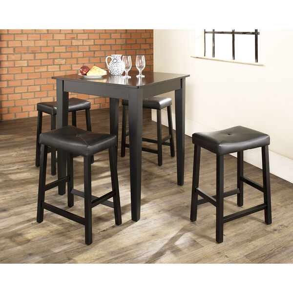 Five Piece Pub Dining Set with Tapered Leg and Upholstered Saddle Stools in Black Finish, image 3