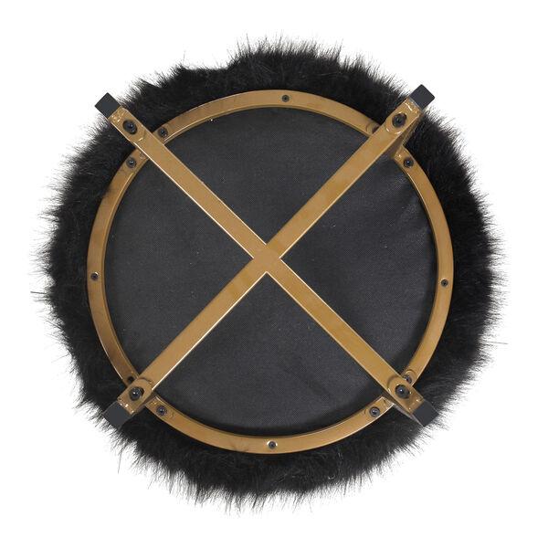 Faux Fur Round Ottoman - Black, image 4