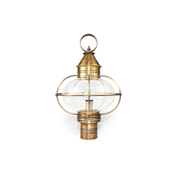 Large Antique Brass Caged Onion Outdoor Post-Mount Lantern, image 1