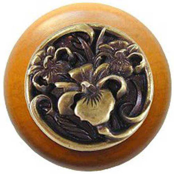 Maple River Iris Knob with Antique Brass, image 1