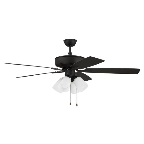 Pro Plus Espresso 52-Inch Four-Light Ceiling Fan with White Frost Bell Shade, image 1