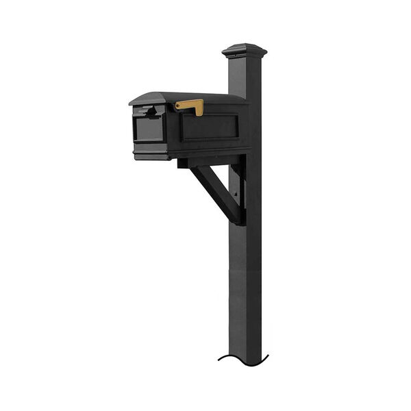 Westhaven Black Support Bracket and Pyramid Finial Mounted Mailbox Post, image 1