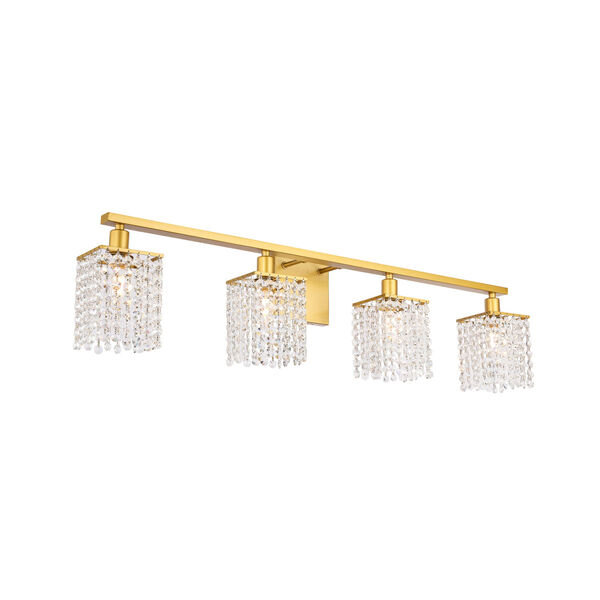 Phineas Brass Four-Light Bath Vanity with Clear Crystals, image 6