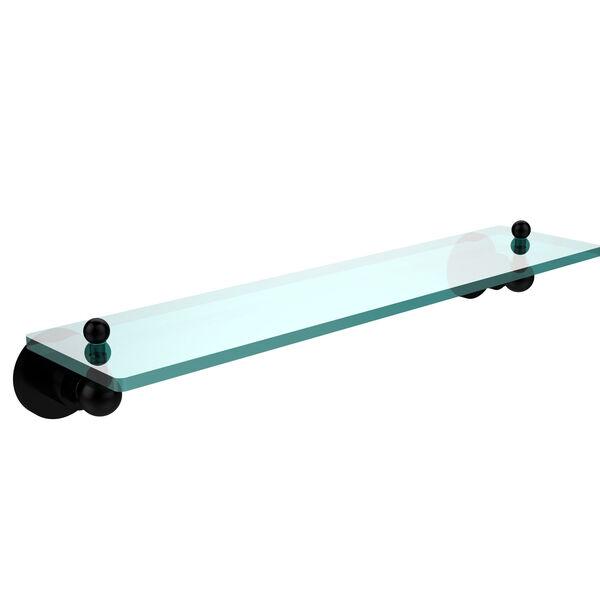 Astor Place Matte Black 22 Inch x 5 Inch Single Glass Shelf, image 1
