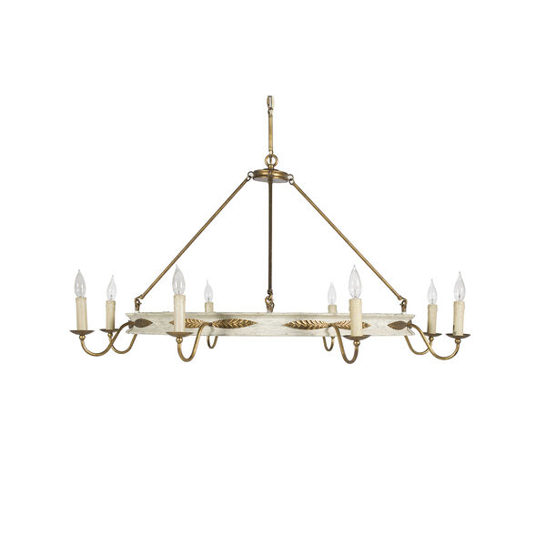 Kayleigh Antiqued White and Antique Gold Leaf 48-Inch Chandelier, image 1