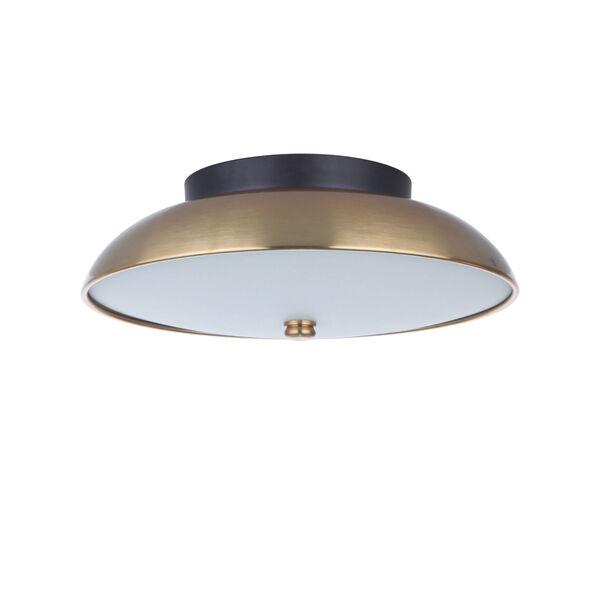 Soul Flat Black and Satin Brass 11-Inch LED Flushmount, image 1