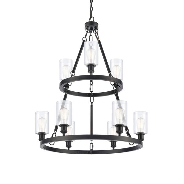 Ballston Matte Black 30-Inch Nine-Light Chandelier with Clear Glass Shade, image 1