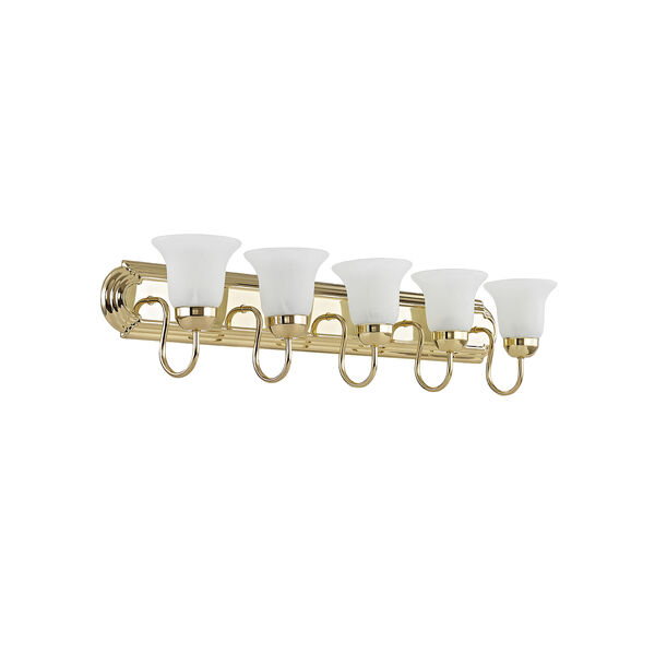 Home Basics Polished Brass Five-Light Bath Light, image 5