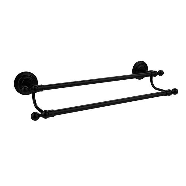 Que New Matte Black 18 Inch Double Towel Bar, image 1