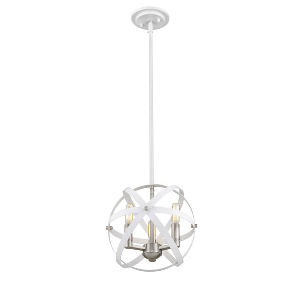 Cavallo Hammered White and Brushed Nickel Three-Light Chandelier, image 3