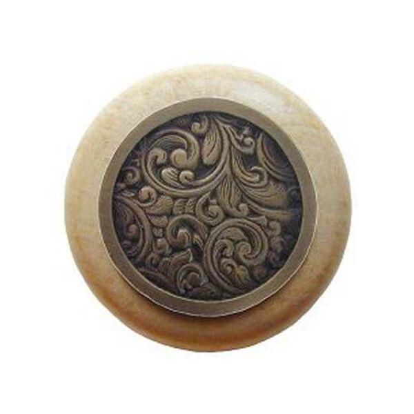 Natural Wood Saddleworth Knob with Antique Brass, image 1