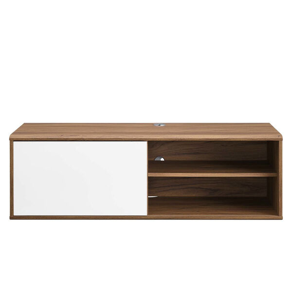 Uptown Walnut and White 46-Inch Wall Mount TV Stand, image 3