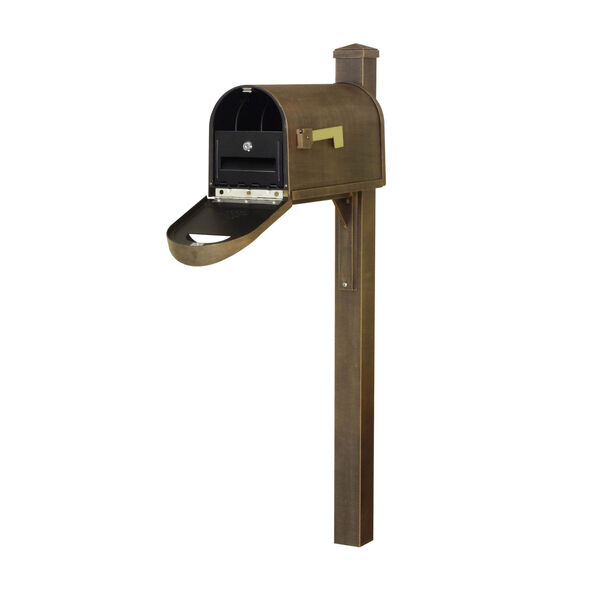 Classic Curbside Mailbox Copper Mailbox with Locking Insert and Wellington Direct Burial Mailbox Post Smooth, image 1