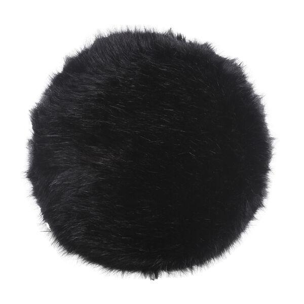 Faux Fur Round Ottoman - Black, image 3
