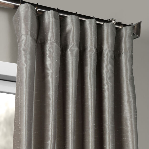 Silver Vintage Textured Faux Dupioni Silk Single Panel Curtain, 50 X 84, image 2