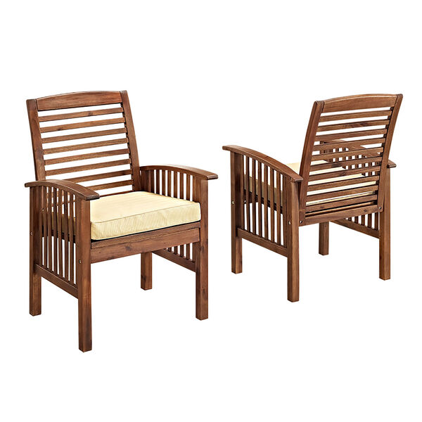 Dark Brown Acacia Patio Chairs with Cushions (Set of 2), image 2