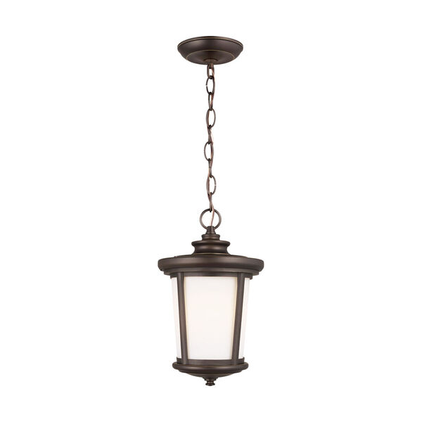 Eddington Antique Bronze One-Light Outdoor Pendant with Cased Opal Etched Shade, image 1