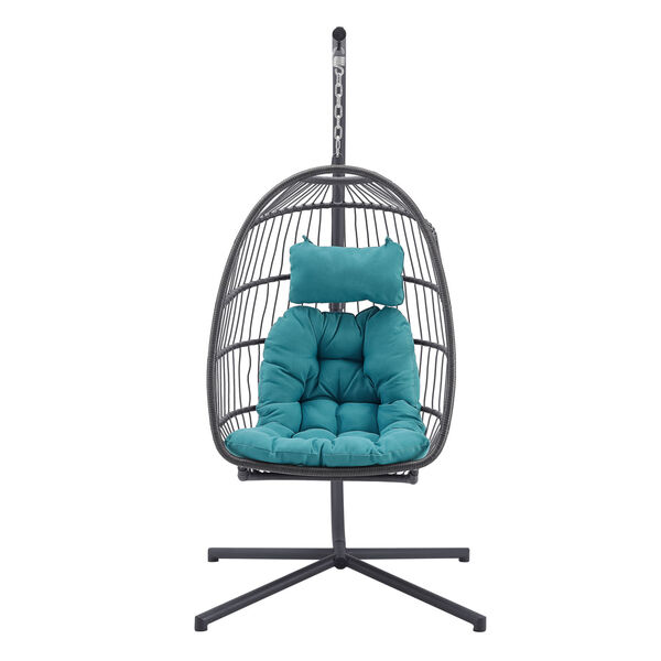 Gray and Teal Outdoor Swing Egg Chair with Stand, image 3
