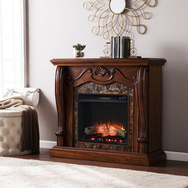 Cardona Walnut Electric Fireplace with Faux Marble, image 1