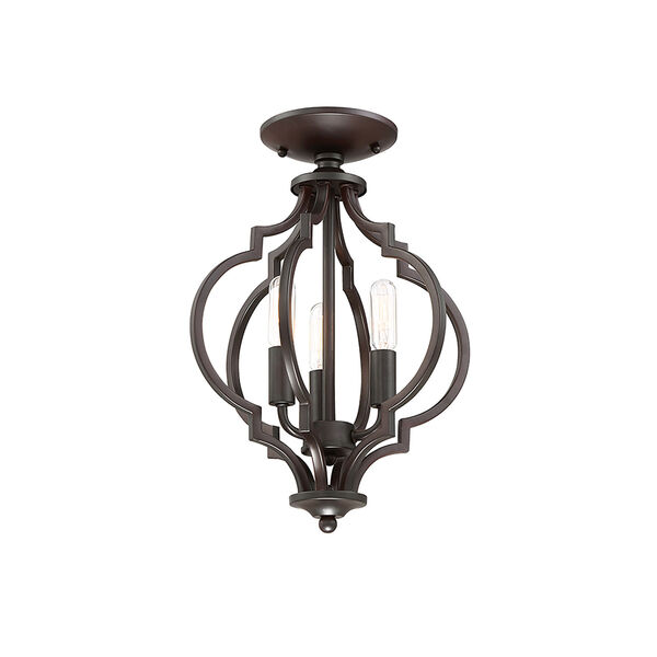 Whittier Quatrefoil  Oil Rubbed Bronze Three-Light Semi Flush Mount, image 5