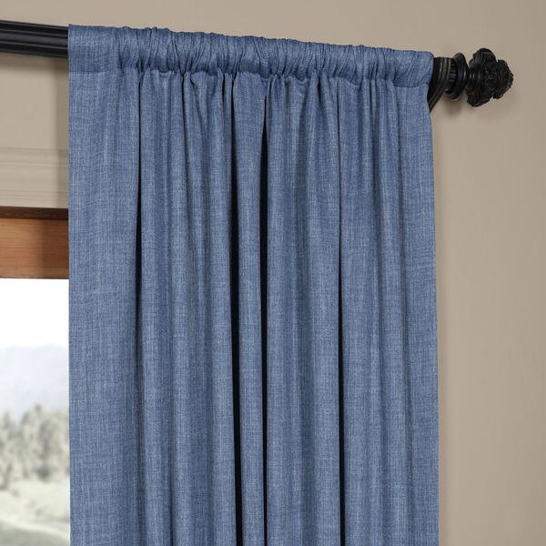 Blue Denim 96 x 50 In. Faux Linen Blackout Curtain Single Panel, image 3