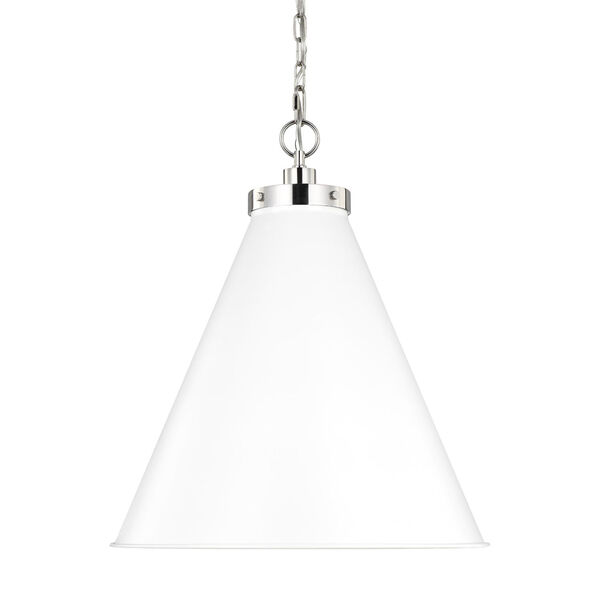 Wellfleet Matte White and Silver 20-Inch One-Light Pendant, image 3