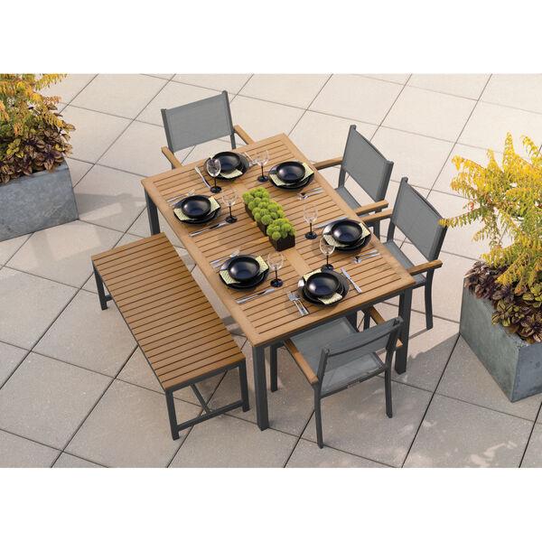 Travira Natural Tekwood Top and Carbon Powder Coated Aluminum Frame 63-Inch Rectangular Dining Table, image 2