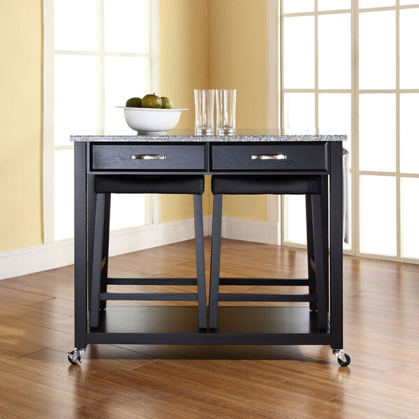 Solid Granite Top Kitchen Cart/Island in Black Finish With 24-Inch Black Upholstered Saddle Stools, image 3