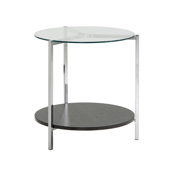 Alexia Chrome End Table with Glass Top, image 1