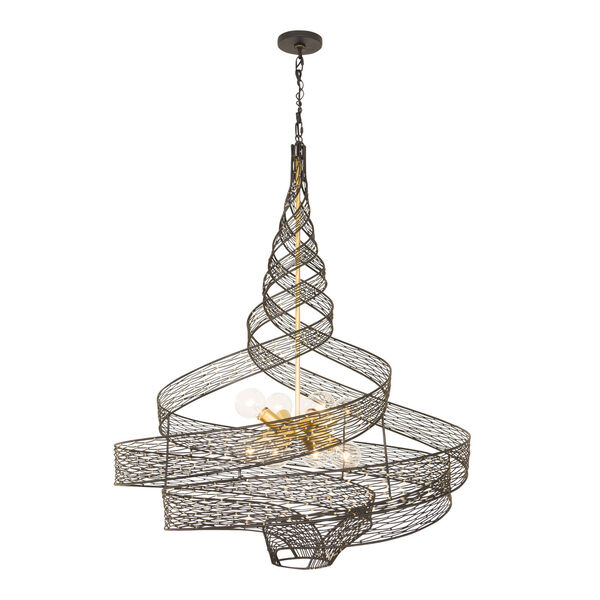 Flow Matte Black French Gold Eight-Light Chandelier, image 1