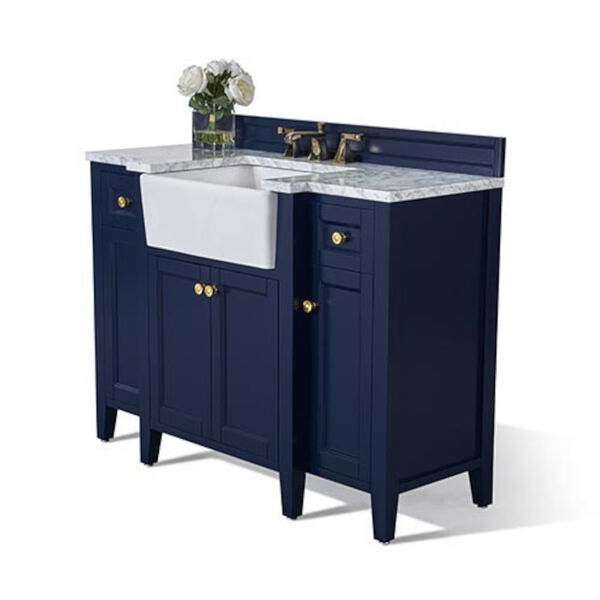 Adeline Heritage Blue 48-Inch Vanity Console with Farmhouse Sink, image 1