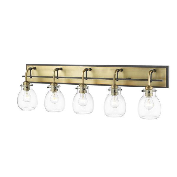 Kraken Matte Black and Olde Brass Five-Light Vanity With Transparent Glass, image 3