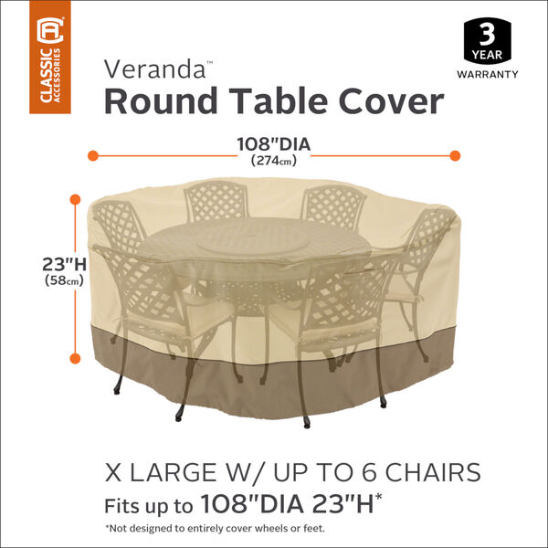 Ash Pebble and Bark Round Patio Table and Chair Set Cover, image 3