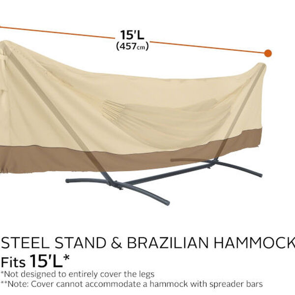 Ash Beige and Brown 15 Foot Standard Brazilian Hammock and Stand Cover, image 4