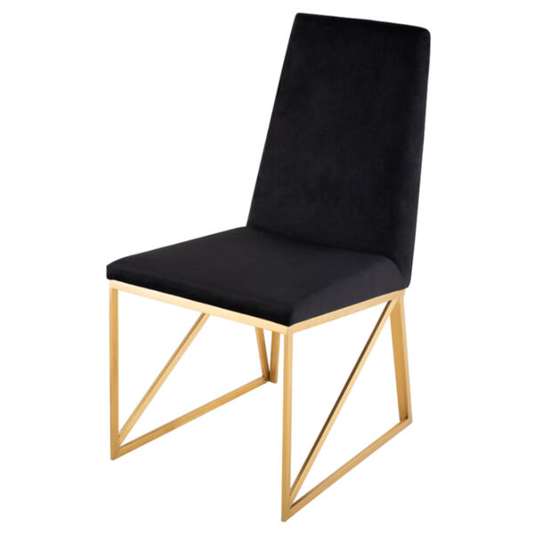 Caprice Black Velour and Brushed Gold Dining Chair, image 1