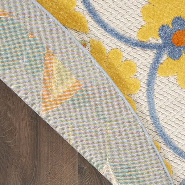 Aloha Blue and Yellow 4 Ft. x 4 Ft. Round Indoor/Outdoor Area Rug, image 3