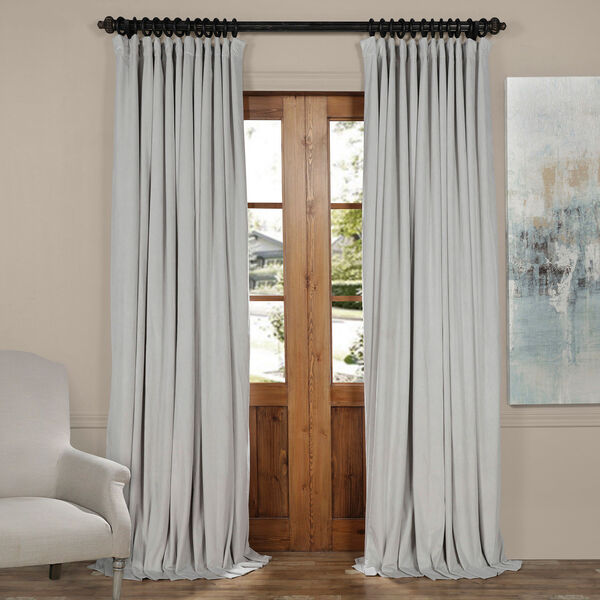 Reflection Gray 84 x 100-Inch Doublewide Blackout Velvet Curtain, image 1