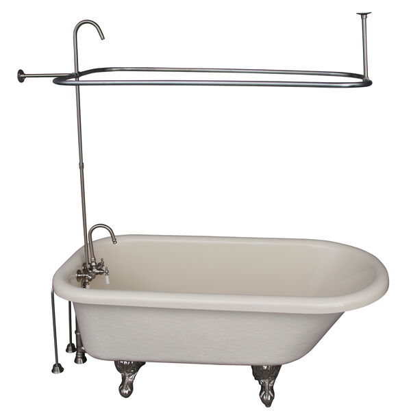 Brushed Nickel Tub Kit 60-Inch Acrylic Roll Top, Shower Unit, Supplies, and Drain, image 1