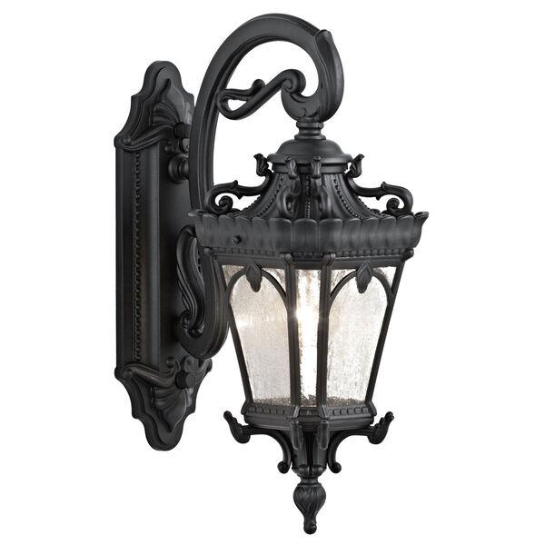 Tournai One-Light Textured Black Outdoor Wall Lantern, image 1