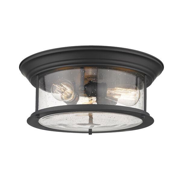 Sonna Matte Black Three-Light Flush Mount with Transparent Seedy Glass, image 1
