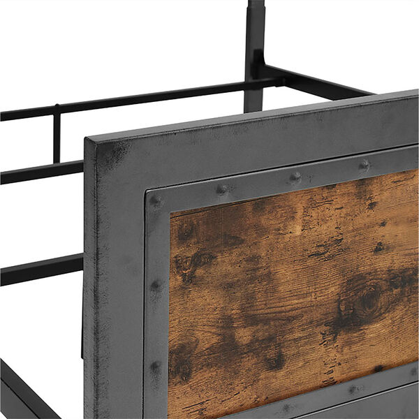 Queen Size Industrial Wood and Metal Bed - Brown, image 5