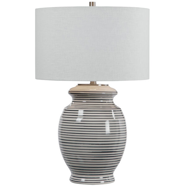 Marisa Brushed Nickel and Off-White Table Lamp, image 5