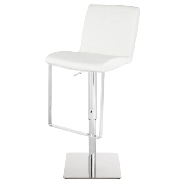 Lewis White and Silver Adjustable Stool, image 1